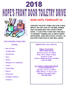 2018 Hope's Front Door Toiletry Drive