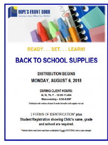 School Supplies Distribution on 8/6