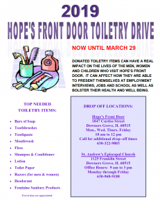 2019 HOPE'S FRONT DOOR TOILETRY DRIVE