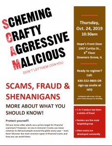 October 24th Avoiding Financial Scams Workshop