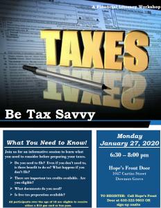 Hope's Front Door: Be Tax Savvy Workshop!
